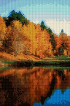 Autumn Forest Reflection Cross stitch pattern PDF - EASY chart with one color…
