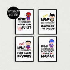 """PROMOTION !!! Lot de 4 POSTERS citations de super héros """"Même les superhérosdoivent aller au lit"""", """"Même les superhéros rangent leur chambre"""", """"Même les superhéros font leur - 19440485"""