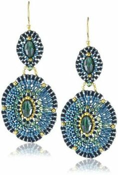 Miguel Ases Blue Green Double Oval Drop Earrings on shopstyle.com