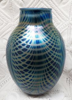 CHARLES LOTTON SIGNED IRIDESCENT PEACOCK PULLED FEATHER VASE CIRCA 1984 #CharlesLotton