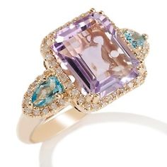 Rarities: Fine Jewelry with Carol Brodie 4.98ct Rose De France Amethyst and Gemstone 10K Ring at HSN.com.