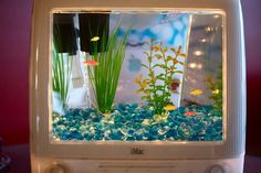 Give new life to your old computer with this upcycled iMac Aquarium by Jake Harms. The story behind these repurposed machines is that one day at work, Harms was asked to throw out an old G3 iMac but couldnt bear to do it. So, he took it home with hope of finding a new purpose for the colorful, but broken, computer. mehman