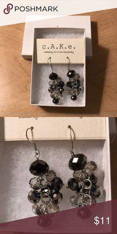 Black and silver dangle earrings Never worn! Very cute! Cake Jewelry Earrings