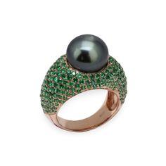 Anello collezione Chérie, Perla di Tahiti 11/12 mm e 290 piccole pietre