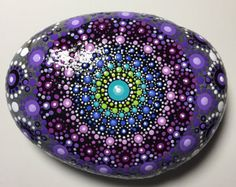 Hand Painted Mandala Stone, Mandala Meditation Stone, Dot Art, Dot Art Stone, Healing Stone, #317