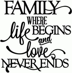 View Design: family - where life begins & love never ends - vinyl phrase