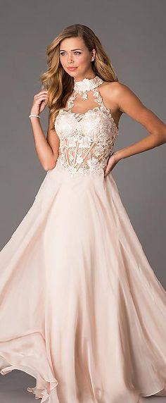 Elegant Chiffon Pink A-Line High Neck Natural Prom Dresses In Stock klkdresses15485er #longdress #promdress