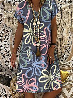 Simple Dresses, Casual Dresses, Short Dresses, Floral Tunic, Floral Midi Dress, Midi Dresses, Half Sleeve Dresses, Knee Length Dresses, Moda Floral