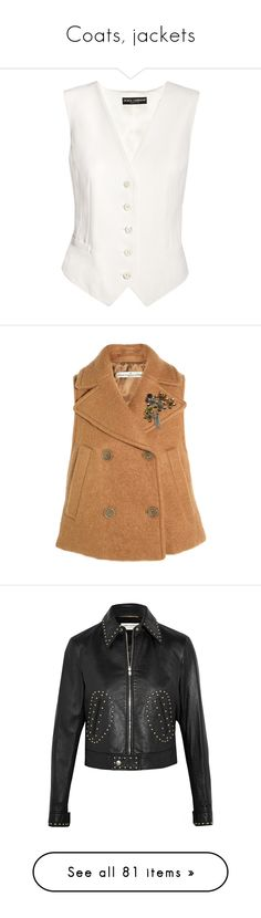 """""""Coats, jackets"""" by bliznec ❤ liked on Polyvore featuring waistcoat vest, white vest, white waistcoat, outerwear, vests, brown, double breasted waistcoat, vest waistcoat, beige vest and embellished vest"""