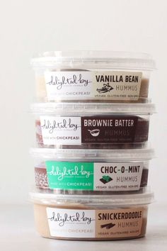 Delighted By Dessert Hummus Review - dairy-free, gluten-free, vegan sweet healthy spreads in Brownie Batter, Snickerdoodle, Vanilla Bean, and Choc-O-Mint