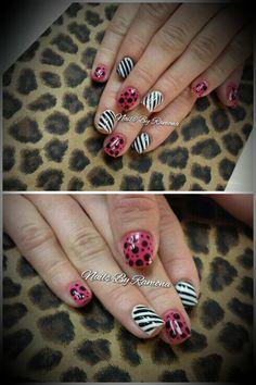 Gel nail polish with nail art. Nails By Ramona