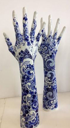 Pinned Up - Marcel Wanders 2 of my favorite things...Hands and blue & white!