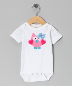 Take a look at this White & Pink Heart Owl Bodysuit - Infant by Petunia Petals on #zulily today! $16.99