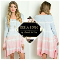 Blue pink tie dye dress *SHIPS TUESDAY 96% RAYON, 4% SPANDEX. Made in the USA. This dress features trendy subtle tie dye print with delicate hints of blue,pink, and ivory, asymmetric shark bite hemline with long sleeves. Flowy, relaxed fit. Sizes small to large  *Coming soon Bella Edge Boutique  Dresses