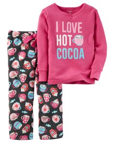 Kid Girl 2-Piece Cotton & Fleece PJs from Carters.com. Shop clothing & accessories from a trusted name in kids, toddlers, and baby clothes.