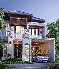 Visnu Private House Design - Cibubur, Jakarta Timur- Quality house design of architectural services, experienced professional Bali Villa Tropical designs from Emporio Architect. Architect Logo, Architect House, Cabana, Bali House, Architectural Services, Bungalow House Design, Roof Design, Facade House, House Front