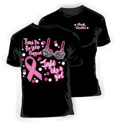 Girlie Pink Ribbon Breast Cancer Awareness T-Shirt in Black on Etsy, $19.99