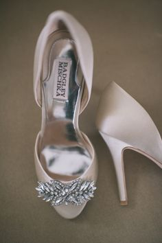 Badgley Mischka wedding shoes, photo by Katie Slater http://ruffledblog.com/romantic-connecticut-wedding #shoes #wedding