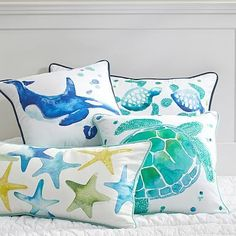 Sea Creature Pillow Cover #pbteen  An idea for one GH bedroom - the rectangle w/ three sea turtles