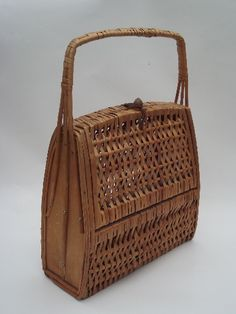 60s 70s vintage box bag basket purse, natural rattan wicker, retro shape