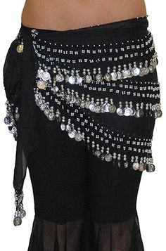 Chiffon & Coin Belly Dance Hip Scarf Skirt - ASSORTED (SILVER)