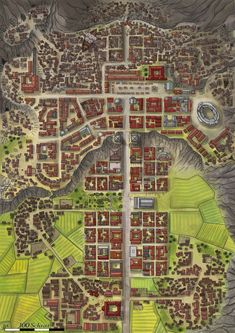 Brajanopolis city Farmland Cliff mountain Road s Arena Temples etc lg Fantasy Town, Fantasy City Map, Fantasy World Map, Fantasy Places, Plan Ville, Dnd World Map, Pathfinder Maps, Village Map, Rpg Map