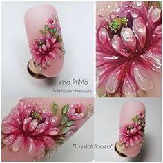 No photo description available. 3d Nail Art, 3d Nails, Cool Nail Art, Art Floral, 3d Nail Designs, Acryl Nails, Magic Nails, Nailart, Nail Art Videos
