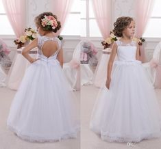 2016 Flower Girls Dresses For Weddings Jewel Neck Lace Appliques Open Back Birthday Dress Floor Length Children Party Kids Girl Ball Gowns Online with $72.37/Piece on Yes_mrs's Store | DHgate.com