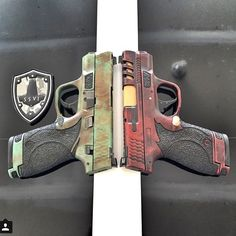 Custom finishes Smith & Wesson M&P Shields Smith And Wesson Shield, Smith Wesson, M&p Shield 9mm, Pocket Pistol, Battle Rifle, Mens Toys, Custom Guns, Military Guns, Cool Guns
