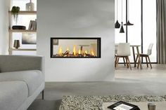 Exclusive double sided fireplace design ideas in modern home interiors : Modern Home Contemporary Double Sided Fireplace Living Room Dining Room Modern Fireplace Screen, Glass Fireplace Screen, Fireplace Doors, Double Sided Fireplace, Home Fireplace, Living Room With Fireplace, Fireplace Design, Fireplace Ideas, Fireplace Suites
