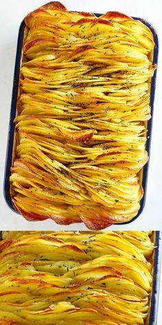 Crispy Leaf Potatoes is the BEST roasted potatoes recipe. Thin and crispy layers. - Crispy Leaf Potatoes is the BEST roasted potatoes recipe. Thin and crispy layers of sliced potatoes Potato Sides, Potato Side Dishes, Vegetable Dishes, Vegetable Tart, Best Potato Recipes, Vegetable Recipes, Golden Potato Recipes, Recipes With Potatoes, Russet Potato Recipes