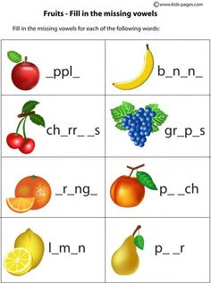 Kids Pages - Fruits - Fill In 1