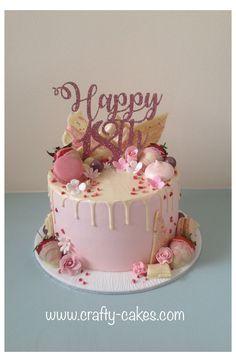 Birthday Cake For Women Simple, 18th Birthday Cake For Girls, 19th Birthday Cakes, Girly Birthday Cakes, Birthday Drip Cake, Creative Birthday Cakes, Sweet 16 Birthday Cake, Elegant Birthday Cakes, Beautiful Birthday Cakes