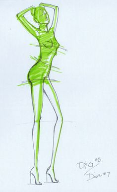 4.8.2007: Fashion Sketching Assignment--D&G This is a sketch/pose for a croquis/template in the style of a D&G ad; she's sporty and sexy, with a little attitude. Stage 1