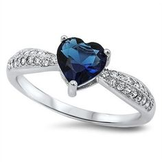 Sterling Silver 1.10 Carat Blue Sapphire Heart Shape Round Russian Ice Diamond CZ Solitaire Accent Wedding Engagement Promise Ring Love Gift