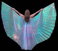 White Opalescent Sheer Organza Professional Isis Wings...in gold tho ends are on sticks you.hold