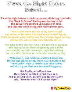 T'was the Night Before School Poem. Would be great as a gift for staff/teachers. My Teacher Style: Freebies