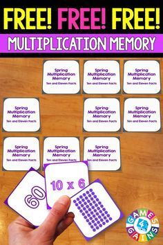 FREE Spring Math Multiplication Memory Game makes practicing tens and elevens multiplication facts fun! Included are 45 memory cards for students to match the multiplication array, multiplication fact, and product. This is a perfect springtime activity fo