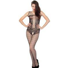 Simplicity Women Sexy Lingerie Black Bodystocking Fishnet Stripper, JT8851