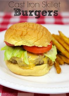 Cast Iron Skillet Burgers - perfectly cooked burgers in only 6 minutes using your favorite cast iron skillet!