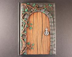 Tree journal  polymer clay journal  handmade by MerryGreenKiwi