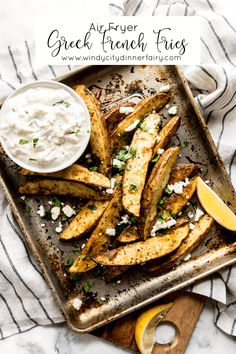 Air Fryer Greek French Fries - The Windy City Dinner FairyThe Windy City Dinner Fairy Side Dishes Easy, Side Dish Recipes, Cooking Tips, Cooking Recipes, Amish Recipes, Skillet Recipes, Pizza Recipes, Healthy Recipes, Greek Fries