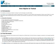 SQLite testing: how testing should be done.