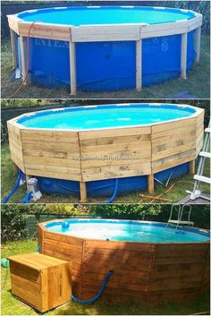 Projects to Make Out of Wooden Pallets In your house you can add a small portion of the wood pallet for your swimming pool frame impact project right into it too. This is although a simple form of the designing work which you can even think about desig Above Ground Pool Landscaping, Above Ground Pool Decks, Backyard Pool Landscaping, Backyard Pool Designs, In Ground Pools, Landscaping Ideas, Boxwood Landscaping, Backyard Fort, Above Ground Swimming Pools