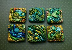 "This is a group of 'inchies' made from polymer clay. They are each 1"" square and they took FOREVER to make. :)"