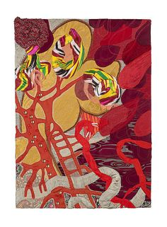 """""""Soft Painting: Ikat"""" Painel feito com tecidos em chassis (panel made of fabrics on wooden frame) - 76x54cm - 2013"""