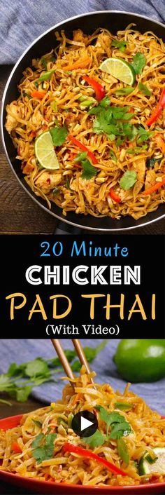 The easiest most unbelievably delicious Chicken Pad Thai is full of authentic favors and so much better than takeout. And itll be on your dinner table in just 20 minutes. One of the best Asian dinner ideas! A perfect easy weeknight meal. Quick and easy Easy Thai Recipes, Thai Chicken Recipes, Healthy Recipes, Best Chicken Pad Thai Recipe, Chicken Pad Thai Noodles Recipe, Authentic Chicken Pad Thai Recipe, Pad Thai Chicken, Authentic Thai Recipes, Shrimp Pad Thai