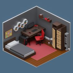 A low-poly bedroom I made