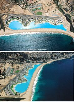 Chile- Crystal Lagoon at San Alfonso del Mar resort--Worlds largest outdoor swimming pool. It's 3,324 ft (1,015 m) long and has a total area of 19.8 acres (8 hectares). The pool holds 66 million gallons (250 million liters) of water, as much as 6,000 normal pools. Incredible!