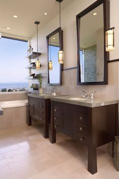Good idea when space allows for 2 vanities but the budget does not